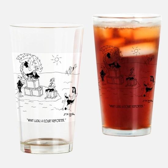 7850_court_reporter_cartoon Drinking Glass