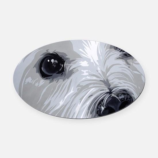 Westie face close Oval Car Magnet