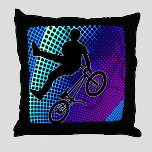 BMX in Fractal Movie Marquee Throw Pillow