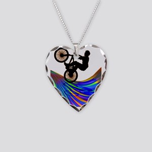 BMX on a Rainbow Road Necklace Heart Charm