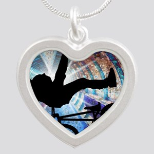 BMX in a Grunge Tunnel Silver Heart Necklace