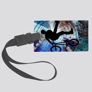 BMX in a Grunge Tunnel Large Luggage Tag