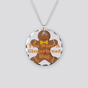 Gingerbread Hug Necklace Circle Charm