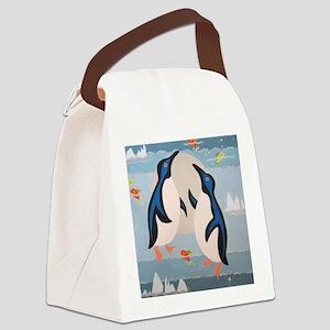Penguin Pair Canvas Lunch Bag