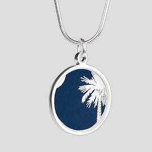 South_Carolina_state_flag Silver Round Necklace