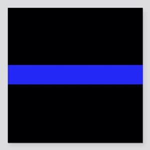 """Police Thin Blue Line Square Car Magnet 3"""" x 3"""""""