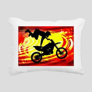 Explosive Motocross Jump Rectangular Canvas Pillow