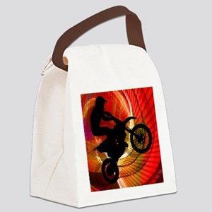 Motocross Light Streaks in a Wind Canvas Lunch Bag