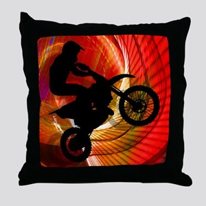 Motocross Light Streaks in a Windtunn Throw Pillow