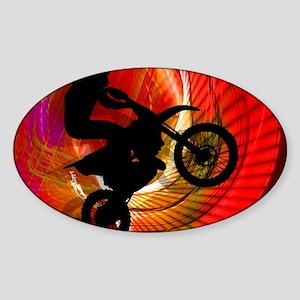 Motocross Light Streaks in a Windtu Sticker (Oval)