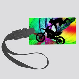 Motocross in a Psychedelic Spide Large Luggage Tag