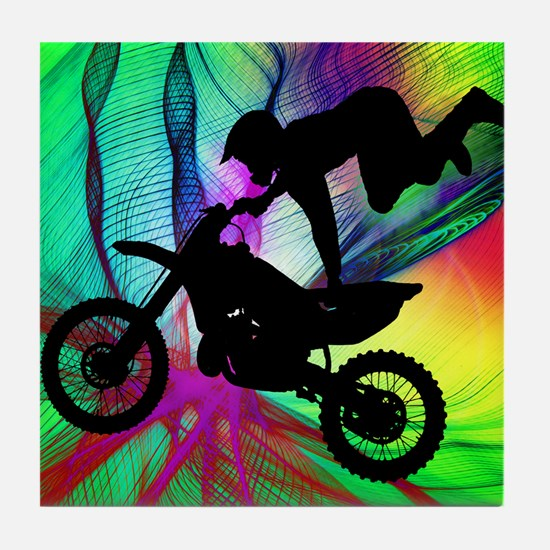 Motocross in a Psychedelic Spider Web Tile Coaster