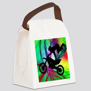 Motocross in a Psychedelic Spider Canvas Lunch Bag