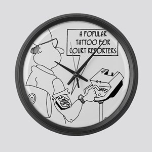 5789_court_reporter_cartoon Large Wall Clock