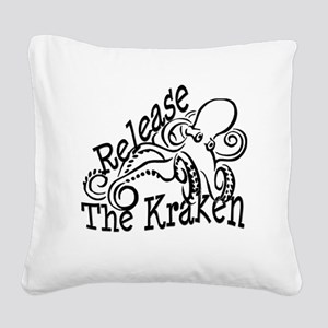 release the kraken black Square Canvas Pillow