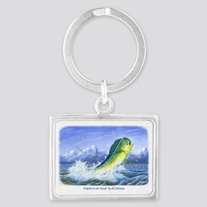 Dolphin in the Weeds Landscape Keychain
