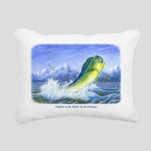 Dolphin in the Weeds Rectangular Canvas Pillow