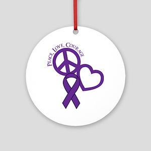 Purple, Courage Round Ornament