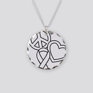 white, Courage Necklace Circle Charm