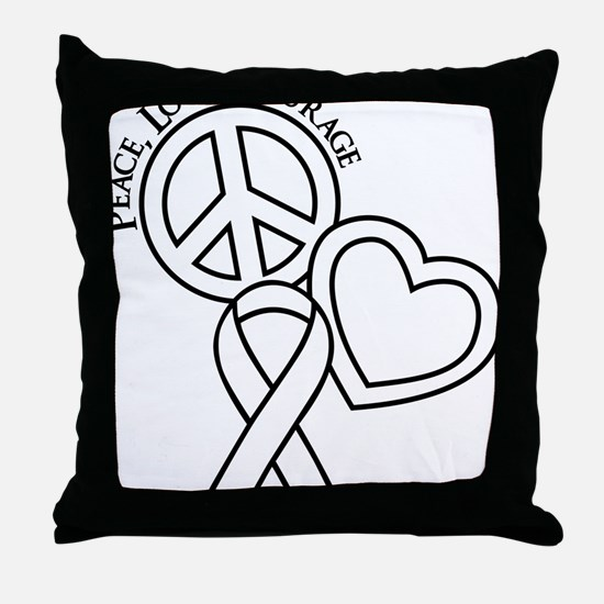 white, Courage Throw Pillow