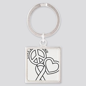 white, Courage Square Keychain