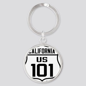 US Route 101 - California Round Keychain