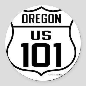 US Highway - Oregon 101 - old Round Car Magnet