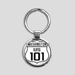 US Highway - Washington 101 - Round Keychain