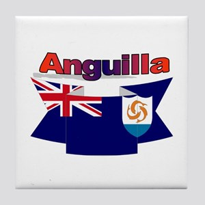 Anguilla flag ribbon Tile Coaster