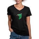 Midrealm Dragon Head Women's V-Neck Dark T-Shirt