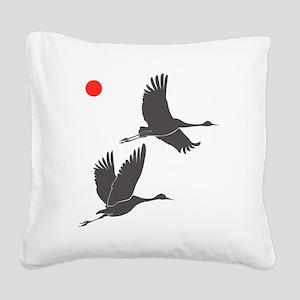 Soaring Cranes Square Canvas Pillow