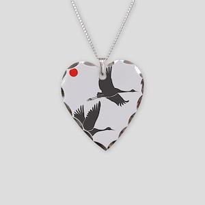Soaring Cranes Necklace Heart Charm