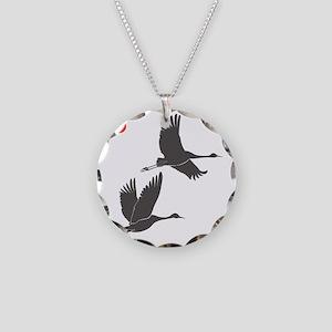 Soaring Cranes Necklace Circle Charm