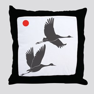 Soaring Cranes Throw Pillow