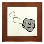USAF Heart Dog Tags Framed Tile