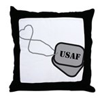 USAF Heart Dog Tags  Throw Pillow