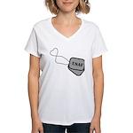 USAF Heart Dog Tags Women's V-Neck T-Shirt