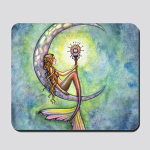 mermaid moon square Mousepad