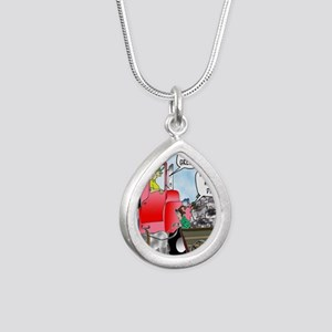 8520_diesel_cartoon Silver Teardrop Necklace
