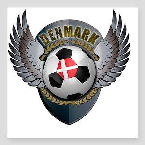 """soccer_ball_crest_denmar Square Car Magnet 3"""" x 3"""""""