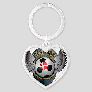 soccer_ball_crest_denmark Heart Keychain