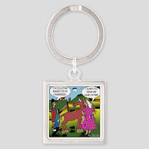 2838_horse_cartoon Square Keychain