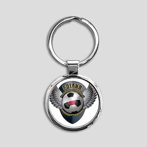 soccer_ball_crest_poland Round Keychain