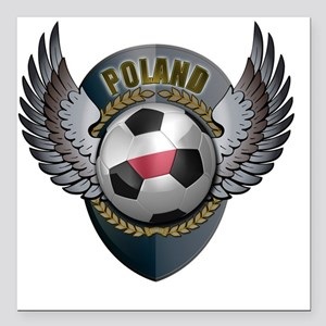 "soccer_ball_crest_poland Square Car Magnet 3"" x 3"""