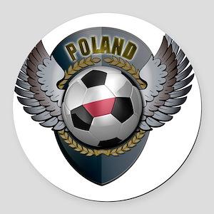 soccer_ball_crest_poland Round Car Magnet