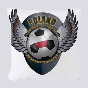 soccer_ball_crest_poland Woven Throw Pillow
