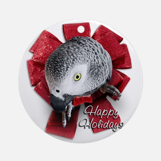 African Grey Christmas Round Ornament
