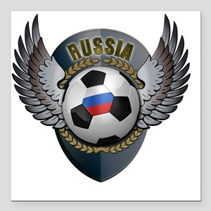 """soccer_ball_crest_russia Square Car Magnet 3"""" x 3"""""""