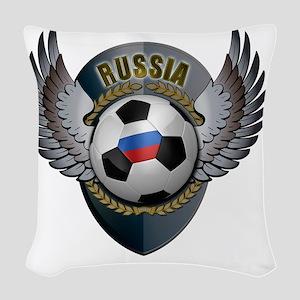 soccer_ball_crest_russia Woven Throw Pillow