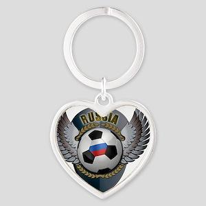 soccer_ball_crest_russia Heart Keychain